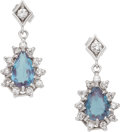 Estate Jewelry:Earrings, Alexandrite, Diamond, White Gold Earrings. ...