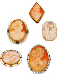 Estate Jewelry:Lots, Shell Cameo, Gold Pendant-Brooches. ...