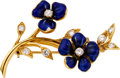 Estate Jewelry:Brooches - Pins, Diamond, Enamel, Gold Brooch, Van Cleef & Arpels. ...