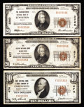 National Bank Notes:Maine, Lewiston, ME - $20 1929 Ty. 1 The Manufacturers NB Ch. # 2260;.Greenfield, MA - $10 1929 Ty. 1 First NB & TC Ch... (Total: 3notes)