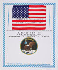Transportation:Space Exploration, Apollo 11 Flown American Flag with Presentation CertificateDirectly from the Personal Collection of Mission Command ModulePi...