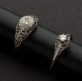 Estate Jewelry:Rings, Two Antique Gold & Diamond Filigree Rings. ... (Total: 2 Items)