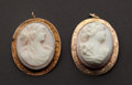 Estate Jewelry:Cameos, Two Antique Shell Gold Cameos. ... (Total: 2 Items)