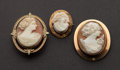 Estate Jewelry:Cameos, Three Antique Gold Cameos. ... (Total: 3 Items)
