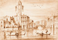 Fine Art - Work on Paper:Drawing, Attributed to GIACOMO GUARDI (Italian, 1764-1835). S. Geremia,Venice. Pen and ink wash on paper affixed along edges to ...