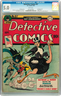 Detective Comics #67 (DC, 1942) CGC VG/FN 5.0 White pages