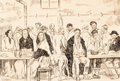 Fine Art - Work on Paper:Drawing, JOSÉ BORRÁS SOLANA (Spanish, 1857-1947). Peasants Sitting atTables. Black ink over graphite on buff card. Image: 7-1/2 ...