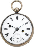 Timepieces:Pocket (pre 1900) , Swiss Two Train Verge Fusee With Alarm, circa 1820. ...