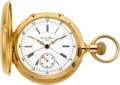 Timepieces:Pocket (pre 1900) , Leopold Huguenin Massive 18k Gold Split Second Chronograph, circa 1880. ...