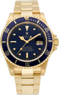 Timepieces:Wristwatch, Rolex Ref. 16808 Gold Oyster Perpetual Date Submariner, circa 1980....