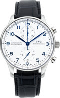 Timepieces:Wristwatch, International Watch Co. Steel Portuguese Automatic Chronograph. ...