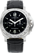 Timepieces:Wristwatch, Panerai Luminor Steel Chronograph No. H 244/300, Ref. OP 6643, circa 2005. ...