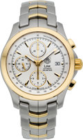 Timepieces:Wristwatch, Tag Heuer Steel & 18k Gold Link Automatic Chronograph. ...