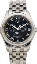 Timepieces:Wristwatch, Patek Philippe Very Fine White Gold Ref. 5036/1 Center Seconds,Self-Winding Wristwatch With Annual Calendar, Moon Phases, 48-...