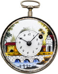 Timepieces:Wristwatch, Swiss Fancy Painted Dial Verge Fusee With Figural Key, circa 1820....