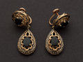 Estate Jewelry:Earrings, Antique Black Onyx & Enamel Gold Earrings. ...