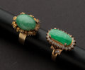 Estate Jewelry:Rings, Two Jade Gold Rings. ... (Total: 2 Items)