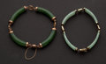 Estate Jewelry:Bracelets, Two Gold Jade Bracelets. ... (Total: 2 Items)