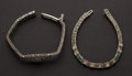 Estate Jewelry:Bracelets, Two Early Bracelets One Is 14k Gold & One Is Sterling. ... (Total: 2 Items)