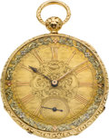 Timepieces:Pocket (pre 1900) , Quartier Swiss Very Fine Gold Key Wind With Multicolor Dial, circa 1836. ...