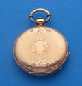 Timepieces:Pocket (pre 1900) , Yaques Roulet (Swiss) 14k Gold 43 mm Key Wind Pocket Watch. ...