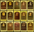 Autographs:Post Cards, Baseball Hall Of Fame Plaques Signed Lot Of 15....