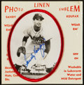Autographs:Bats, Sandy Koufax Signed Linen Emblem With Full JSA LOA....