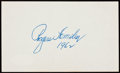 Autographs:Index Cards, Rogers Hornsby Signed Index Card With Full JSA LOA....