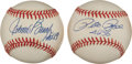 "Autographs:Baseballs, Johnny Bench ""HOF 89"", and Pete Rose ""4256"" Single SignedBaseballs...."