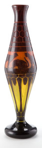 Art Glass:Schneider, CHARLES SCHNEIDER LE VERRE FRANCAIS MONUMENTAL GLASS CHATSVASE . Orange to yellow glass with violet overlay aci...