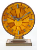Clocks & Mechanical:Clocks, A GERMAN AMBER AND SILVERED METAL TABLE CLOCK . Attributed to Naujoks, Mann and Geduk, Koenigsberg, Germany, circa 1940. Mar...