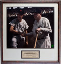 Autographs:Checks, 1941 Babe Ruth Signed Check Framed with Oversized Ted Williams Signed Photograph....