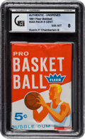 Basketball Cards:Singles (Pre-1970), 1961 Fleer Basketball 5-Cent Wax Pack GAI NM-MT 8 - withChamberlain Rookie Showing on Back!...