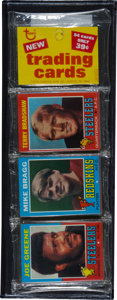 Football Cards:Singles (1970-Now), 1971 Topps Football Unopened Rack Pack GAI Mint 9 with Bradshaw andGreene Rookies on Top. ...
