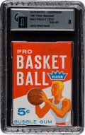 Autographs:Bats, 1961 Fleer Basketball 5-Cent Wax Pack GAI NM-MT 8 - with Jerry West Rookie Showing on Back!...