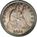 Seated Quarters: , 1845 25C MS65 PCGS. Breen-3961. Briggs 3-C. FS-25-1845-301. Breen'sLarge 5 over Small 5 variety. Subtle fire-red, olive, a...