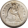 Seated Quarters: , 1850-O 25C MS64 NGC. Although silver coins failed to circulate in1850, New Orleans struck 412,000 quarters in 1850. Many o...