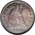 Seated Quarters: , 1858-O 25C MS65 NGC. The 1858-O quarter does not immediately cometo mind as a key date in the Liberty Seated Quarter serie...