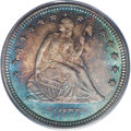 Seated Quarters: , 1877-S 25C MS67 PCGS. Even this issue, collected as often as it isfor type purposes, becomes exceptionally elusive as a Su...