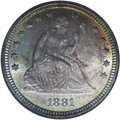 Seated Quarters: , 1881 25C MS66 NGC. One of the rare business strikes from the 1879to 1890 period, in this case produced to the extent of on...