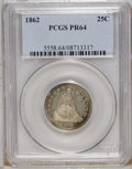 Proof Seated Quarters: , 1862 25C PR64 PCGS. Wisps of cobalt-blue and golden-tan makeoccasional visits to the margins of this near-Gem proof. Both ...