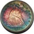Proof Seated Quarters: , 1863 25C PR65 Cameo NGC. This is a deeply toned proof quarter, morenoticeable for the bands of tobacco, crimson, blue and ...