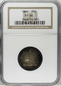 Proof Seated Quarters: , 1864 25C PR64 NGC. Blue-green, violet, rose, and gold patinasaturates the surfaces of this pretty near-Gem. Both sides hav...
