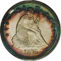 Proof Seated Quarters: , 1875 25C PR65 Cameo PCGS. Type II Reverse. The obverse iscolorfully framed in antique-gold, crimson, and electric-blueton...