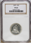 Proof Seated Quarters: , 1879 25C PR65 NGC. An essentially untoned and exquisitely struckGem. While the obverse contrast is too modest for a design...