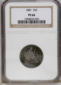 Proof Seated Quarters: , 1881 25C PR64 NGC. Well struck with mildly reflective fields and abit of pleasing mint frost on the figure of Seated Liber...