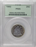 Proof Seated Quarters: , 1882 25C PR65 PCGS. Olive toning graces the obverse fields andvivid blue covers the devices on that side. The pattern is m...