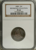 Proof Seated Quarters: , 1884 25C PR64 NGC. Ex: Richmond Collection. This Choice Proof, oneof just 875 specimens coined, has delightful blue-green,...