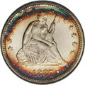 Proof Seated Quarters: , 1887 25C PR67 NGC. Dramatic electric-blue, orange, and plum-redbands grace the peripheries of this nicely preserved proof ...