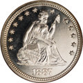 Proof Seated Quarters: , 1887 25C PR67 Cameo NGC. Deeply reflective with excellent contrastbetween the frosted devices and the deeply reflective fi...